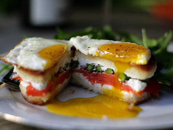 14. Smoked Salmon, Asparagus, Goat Cheese and Fried Egg Sandwich