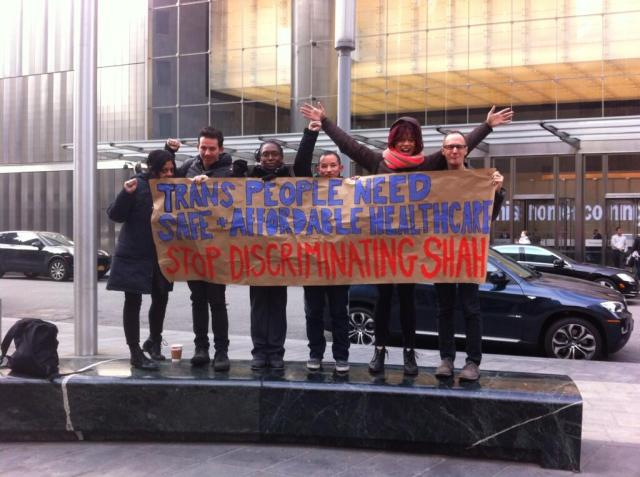Demanding affordable Healthcare outside the NY State Department of Health in December 2013. via SRLP