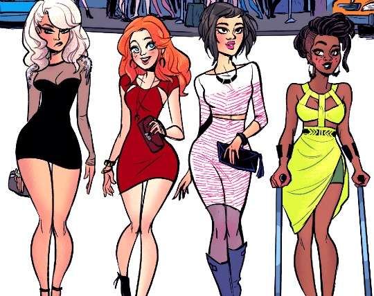 Dinah (Black Canary), Barbara (Batgirl), Alysia and Barbara's new roommate Frankie. Art by Babs Tarr