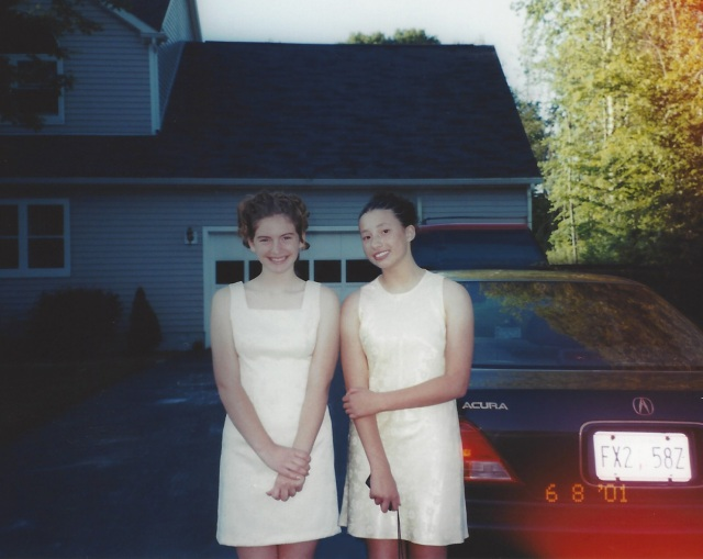Laura and Kate going to the 8th grade dance. Oswego, 2001.