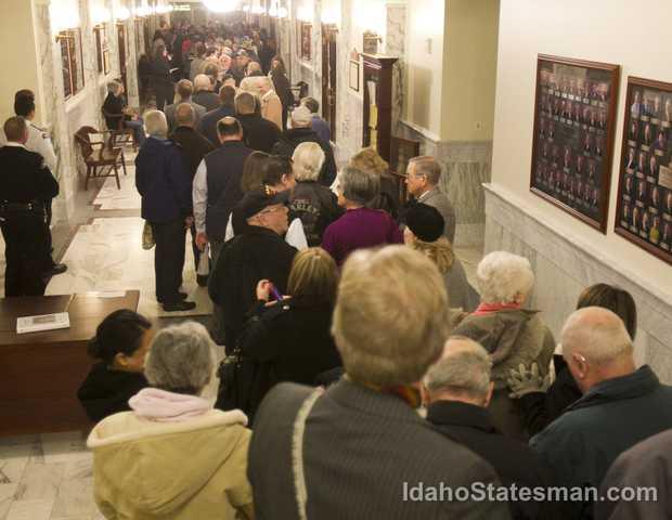 The packed halls before the hearing. Photo via The Idaho Statesman