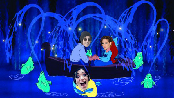 Kristen Stewart and Alicia Cargile superimposed onto a scene from the Little Mermaid, holding hands in a boat surrounded by celebratory fish