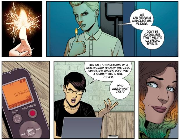 Luci, Cassandra and Laura in The Wicked + The Divine. Art by Jamie McKelvie