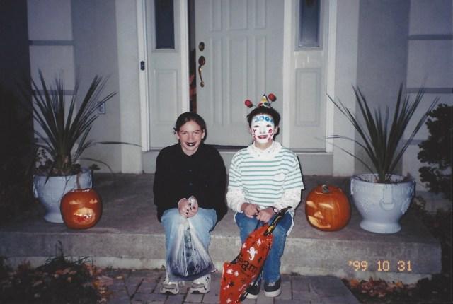 """Kate dressed as a """"freak."""" Laura dressed as a """"Y2K bug."""" Oswego, Halloween 1999."""