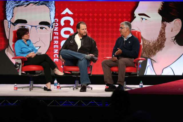 Swisher and Benioff (L and Center) have shared a stage before. Photo courtesy Re/Code.