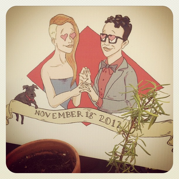 Look at this cute picture of Robin and Carly that Rory drew for their wedding!