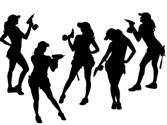 drill women silhouettes