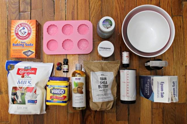 ingredients for Laura's moisturizing lavender bath bomb