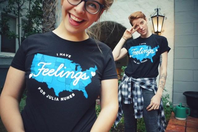 Julia and Dannielle wearing shirts from Julia's Kickstarter