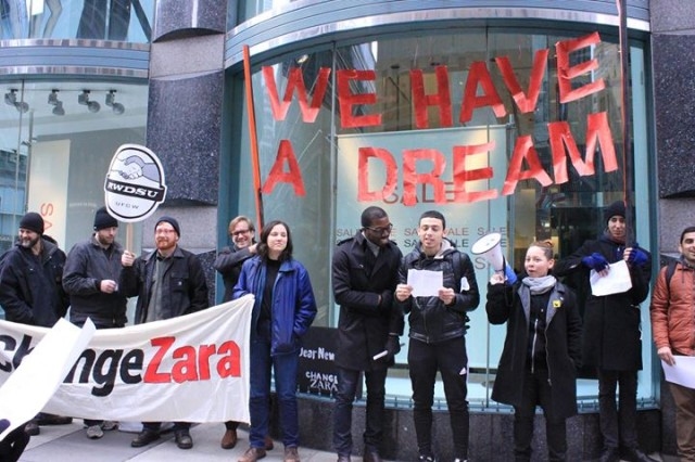 RAP organizers call for a wage increase outside the Zara flagship store in Manhattan via RAP