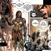 Sera talking to Angela. Art by Phil Jimenez