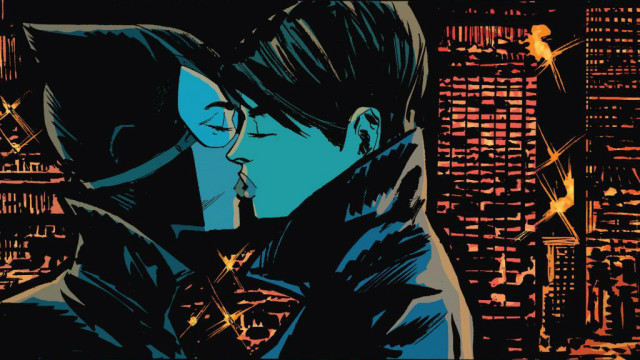 The old Catwoman, Selina Kyle (right) making out with the new Catwoman (left), art by Garry Brown