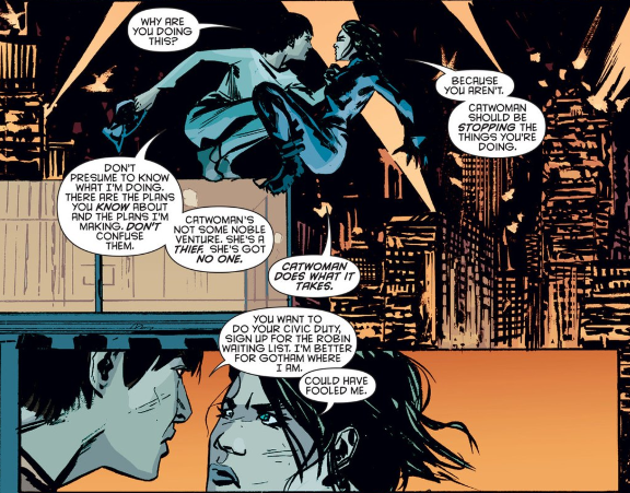Selina and Eiko in an early encounter, which Valentine scripted as having close-talking that should be comparable to Xena. Catwoman #36 art by Garry Brown