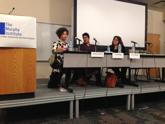 Reina Gossett, Cara Page and Terry Boggis discuss reproductive justice and healthcare access. via @MargotDWeiss