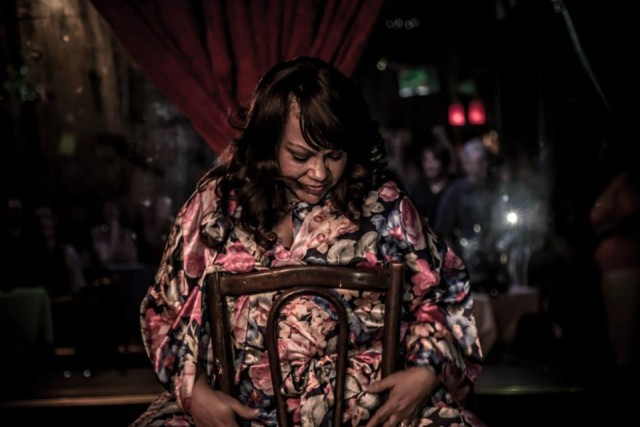 Donna Bechet-Kilbourne, one of our interviewees, performing in a benefit for Last Call. Photo by Melisa Cardona.