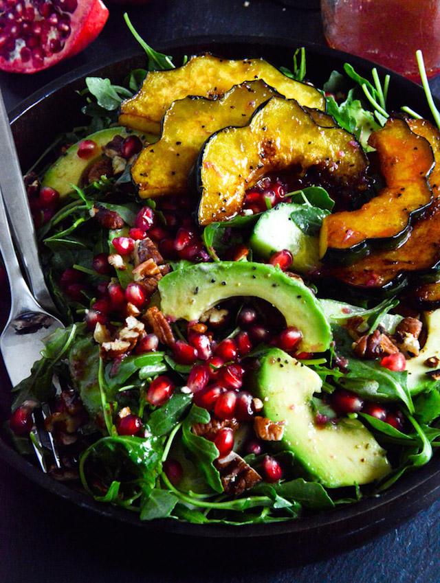 Autumn-Arugula-Salad-with-Caramelized-Squash-Spiced-Pecans-and-Pomegranate-Ginger-Vinaigrette-6
