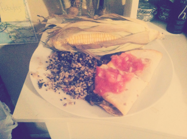 Black Bean, Spinach, Mushroom, and Soy Chorizo Quesadilla