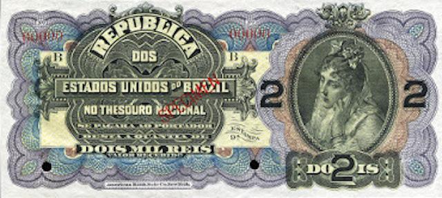 Brazil 2 Mil Reis Zella Banknote