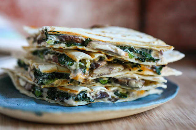 Mushroom, Thyme, and Spinach Quesadilla with Smoked Gouda