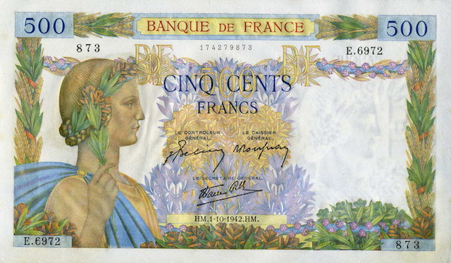 France currency 500 old French Francs banknote Peace