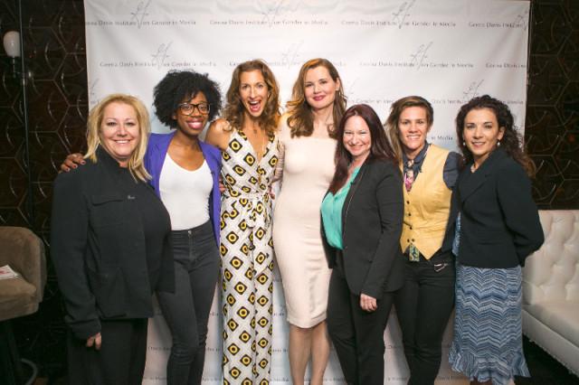 Nikki Levy, Geena Davis, Alysia Reiner et al. Gal Pal-ing around at a Ladies in Comedy Event in Los Angeles.