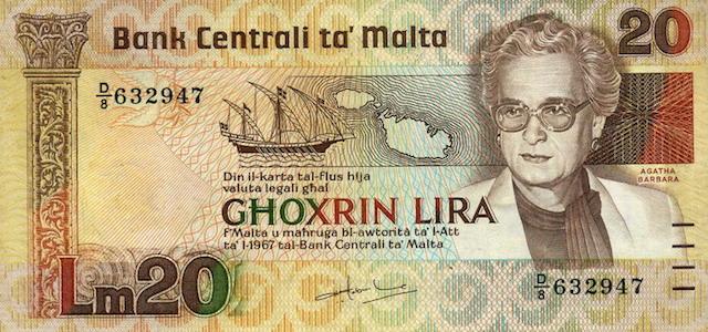 Malta+currency+20+Lira