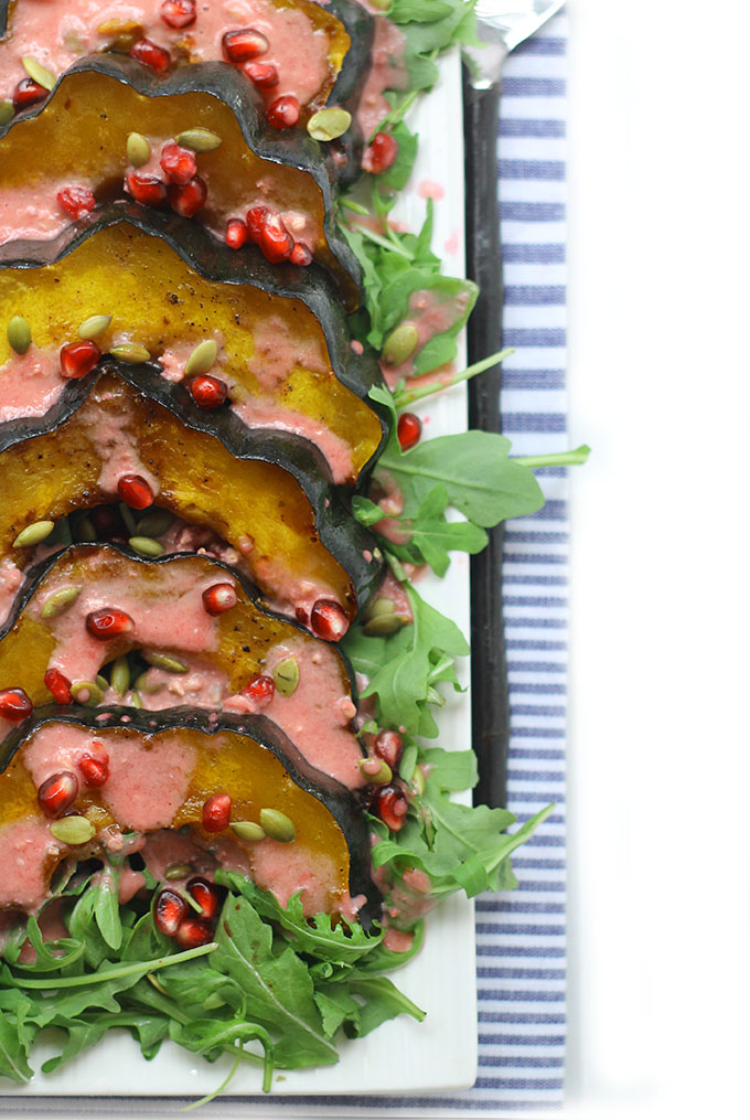 30. Maple Roasted Acorn Squash Salad with Pomegranate Vinaigrette