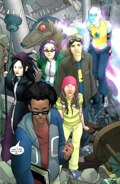 The original Runaways lineup. (Clockwise from L: Nico, Gert and Old Lace, Chase, Karolina, Molly and Alex). Art by Adrian Alphona.