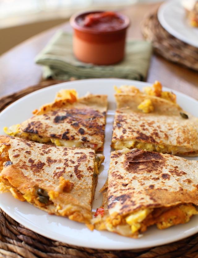 Smashed Garbanzo Breakfast Quesadilla