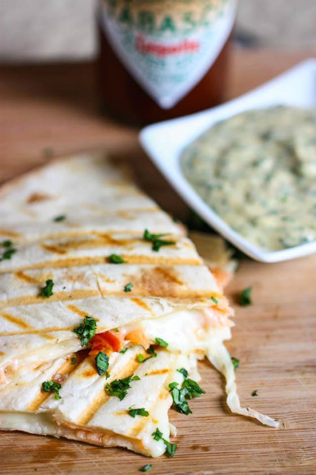 Smoked Salmon Quesadilla with Creamy Chipotle-Cilantro Sauce