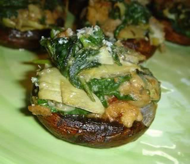 SpinachArtichokeStuffedMushrooms