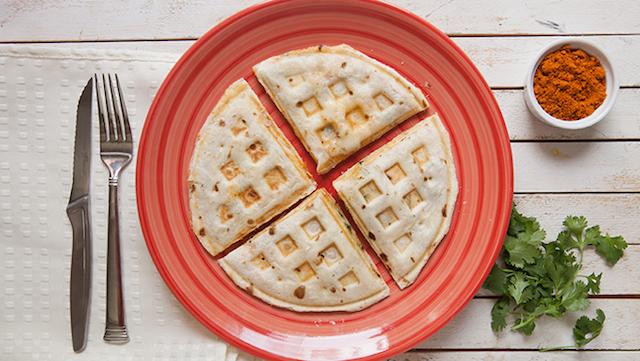Waffle Iron Quesadilla