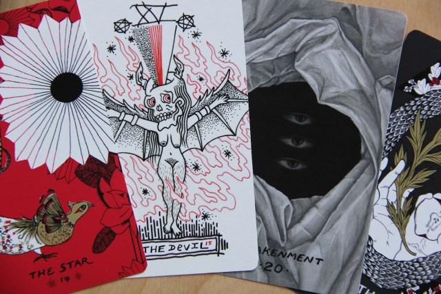 The Star, illustration by Sierra Kozman / The Devil, illustration by Steph Damiano / Awakenment, (traditionally Judgement), illustration by Miranda Pfeiffer / The World, illustration by Ayden