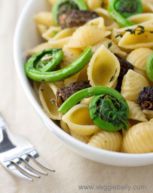 fiddlehead-morel-mushroom-pasta
