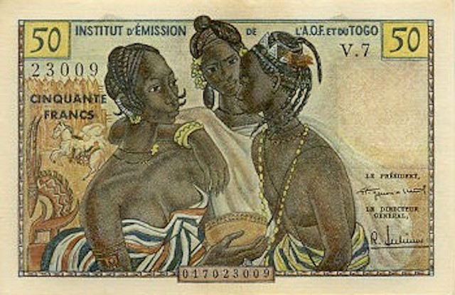 french west africa 50 Francs ND(1956)