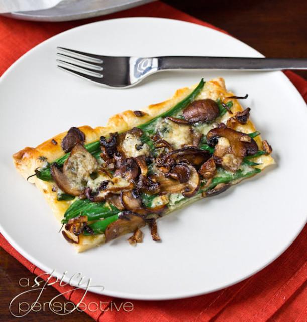 green bean mushroom tart