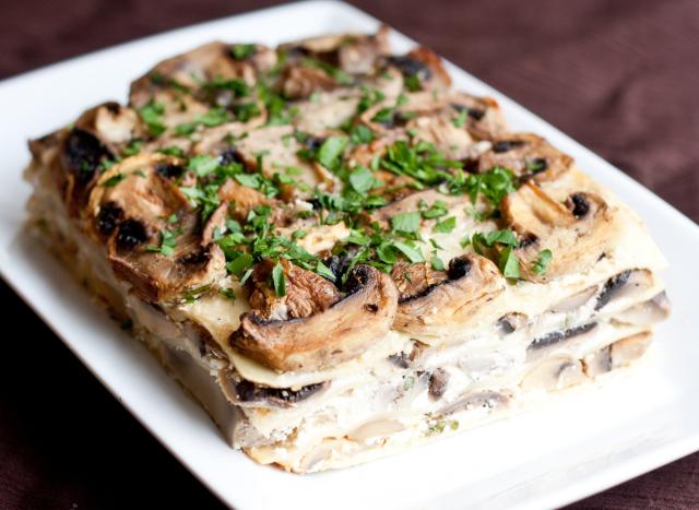 lasagne mushrooms goat cheese