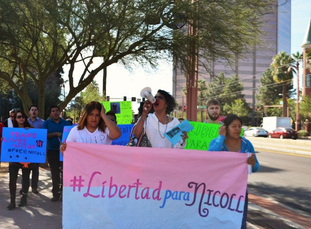 Community members march to ICE Headquarters in Phoenix in January 2015 via Maria Inés Taracena for the Tucson Weekly