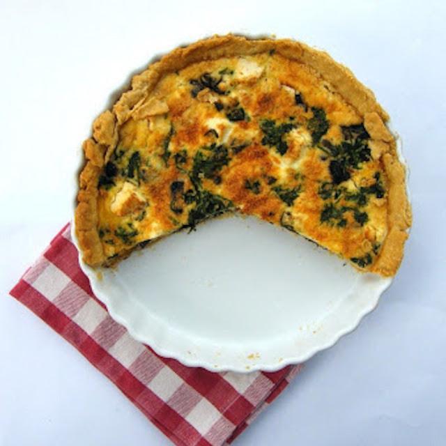 mushroom spinach and feta quiche