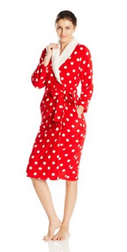 red dearfoam polka dot robe