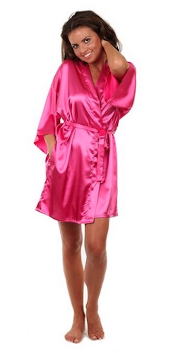 satin short robe pink