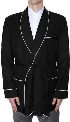 smoking jacket black piping