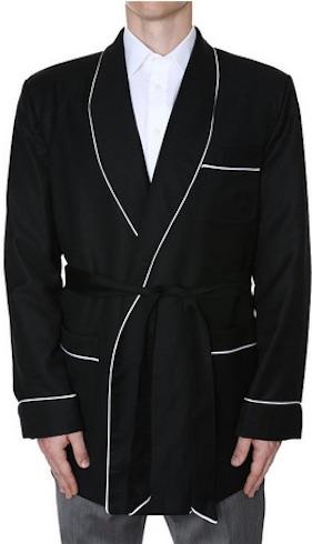 smoking jacket black piping
