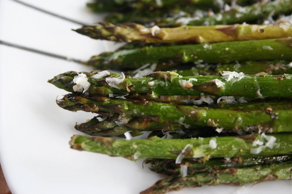 Asparagus tips on a plate