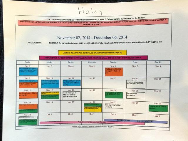 our IVF calendar
