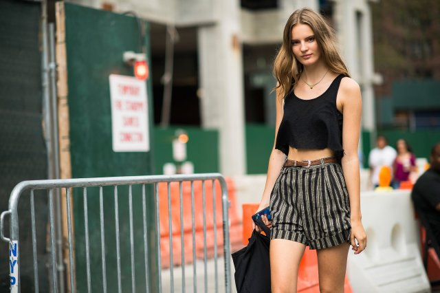 Model-off-duty-cool-striped-shorts-course-crop-top