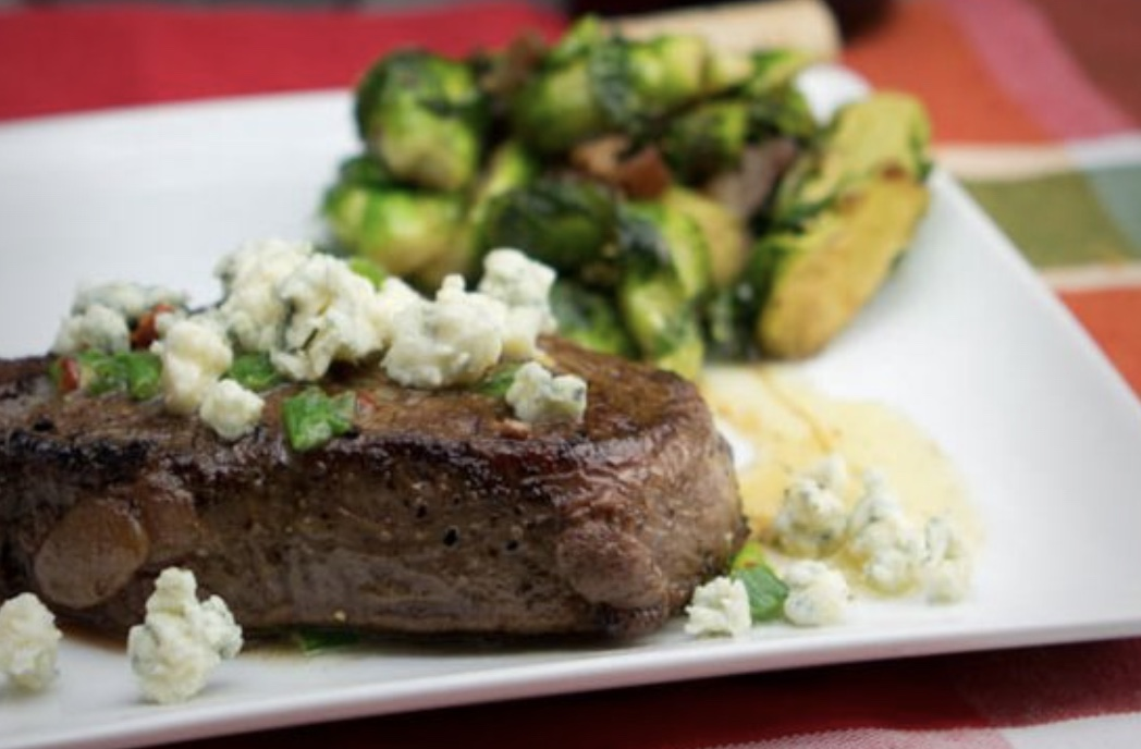 Recipe for Filet Mignon With Chive Marijuana Butter and Blue Cheese