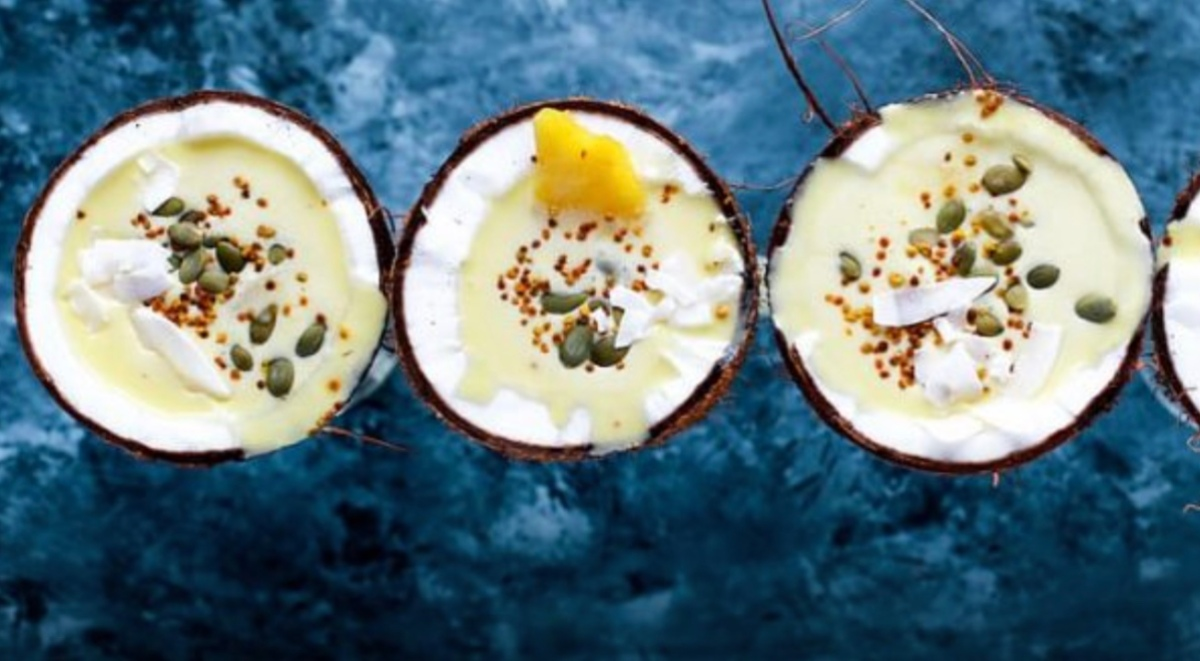 coconut pudding in a row