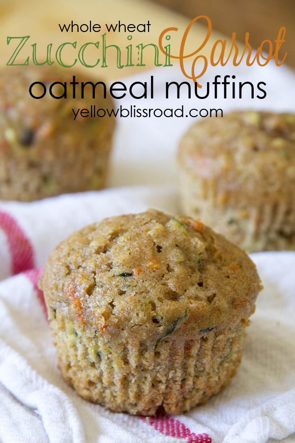 Zucchini Carrot Oatmeal Muffins title