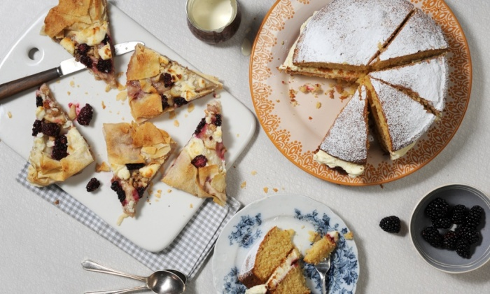 Honeyed almond cake with raspberry jam and goat's cheese cream via The Guardian, photograph by Jill Mead/Guardian